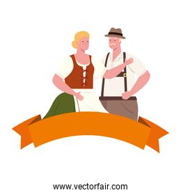 oktoberfest man and woman cartoon with traditional cloth vector design