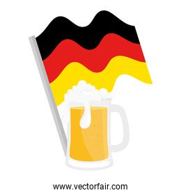 oktoberfest beer glass with germany flag vector design