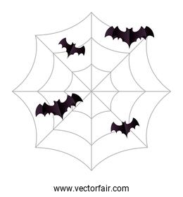 Halloween black bats on spiderweb vector design