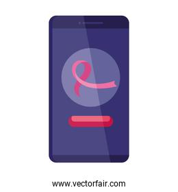 pink ribbon in smartphone of breast cancer awareness vector design