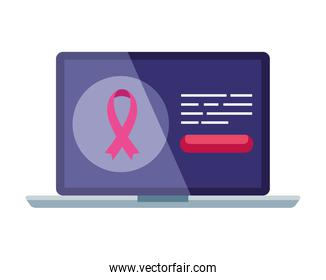 pink ribbon in laptop of breast cancer awareness vector design