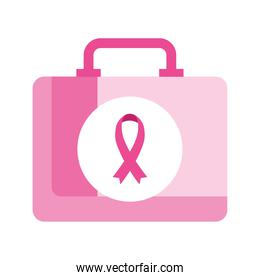 pink ribbon in kit of breast cancer awareness vector design