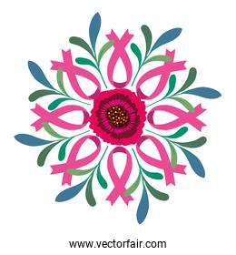 pink ribbons around flower of breast cancer awareness vector design