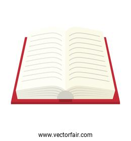Isolated open book with cover red color