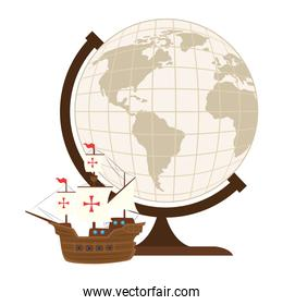 Columbus ship with world sphere vector design