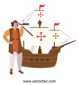 Christopher Columbus cartoon with telescope and ship vector design