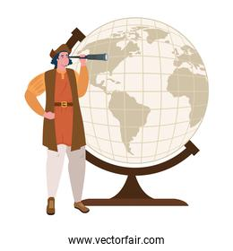 Christopher Columbus cartoon with telescope and world sphere vector design