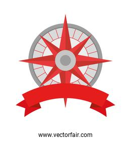 Compass instrument with ribbon vector design