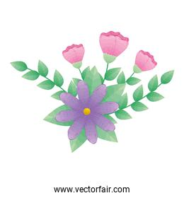 pink and purple flowers with leaves vector design