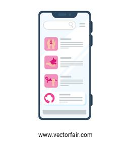 pink icon set in smartphone vector design