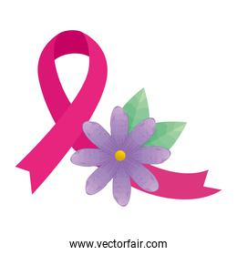 pink ribbon with flower and leaves of breast cancer awareness vector design