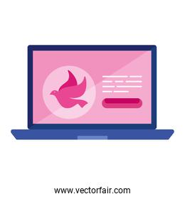 pink dove in laptop vector design