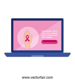pink ribbon on hand in laptop vector design