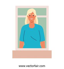 Isolated blond woman cartoon at window vector design