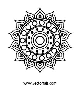 mandala in flower shaped line style icon vector design
