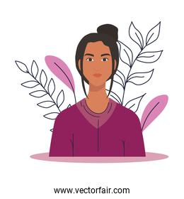 asian woman cartoon with leaves vector design