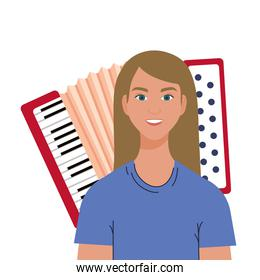 Blond woman cartoon in front of accordion vector design