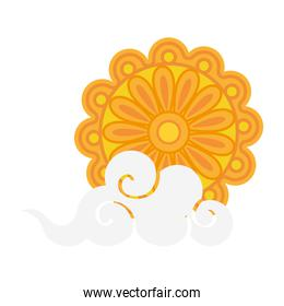 mooncake with cloud of happy mid autumn festival vector design
