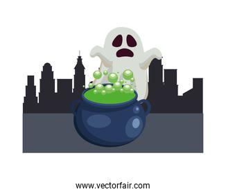 Halloween ghost cartoon with witch bowl at city vector design