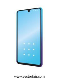 Isolated 3d smartphone with blue wallpaper vector design