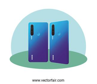Isolated two blue 3d smartphones vector design