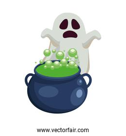 Halloween ghost cartoon with witch bowl vector illustration