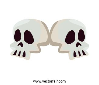 Isolated skulls icons vector design