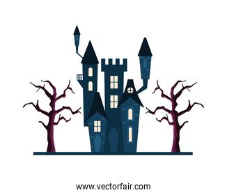 Halloween black house with trees vector design