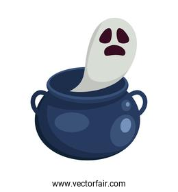 Halloween white ghost cartoon in witch bowl vector design
