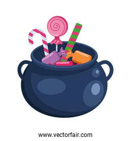 Halloween witch bowl with candies vector design
