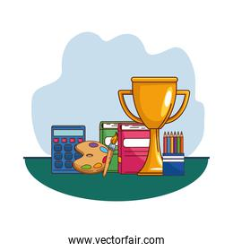 School notebooks paint brush palette calculator and trophy vector design