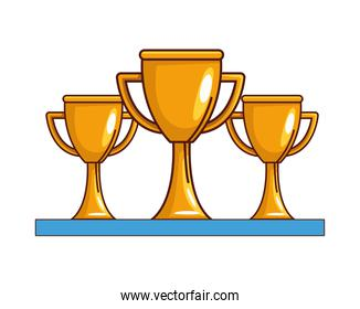 Isolated three trophies vector design