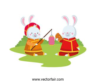 rabbits cartoons with traditional cloth lantern and mooncake vector design
