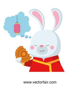rabbit cartoon with traditional cloth and mooncake vector design