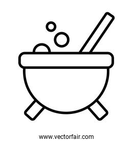 Halloween witch bowl line style icon vector design