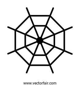 Halloween spiderweb line style icon vector design