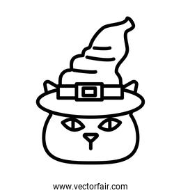 Halloween cat cartoon with hat line style icon vector design