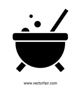 Halloween witch bowl silhouette style icon vector design