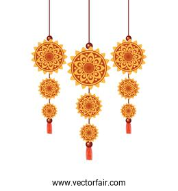 Isolated diwali amulets vector design