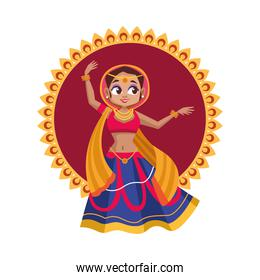 diwali woman cartoon with traditional cloth dancing on mandala vector design