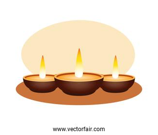 Isolated diwali candles vector design