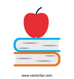 school books and apple icon, flat style