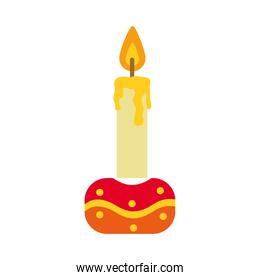 candle on stand icon, flat style