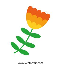 flower with leaves, flat style