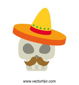 mexican skull with mustache and hat, flat style