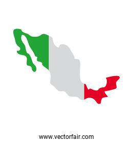 mexico map with mexican flag design, flat style