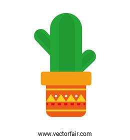 cactus in a pot icon, flat style