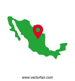 mexico map with location pin icon, flat style