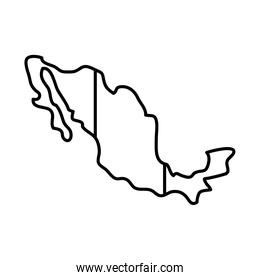 mexico map with mexican flag design, line style