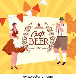 oktoberfest man and woman cartoons with traditional cloth vector design